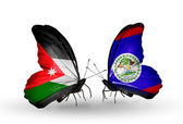 Butterflies with Jordan and Belize flags on wings — Stock Photo