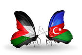 Butterflies with Palestine and Azerbaijan flags on wings — Stock Photo