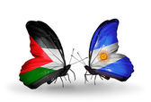 Butterflies with Palestine and Argentina flags on wings — Stock Photo