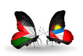 Butterflies with Palestine and Antigua and Barbuda flags on wings — Stock Photo