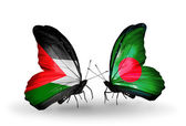 Butterflies with Palestine and Bangladesh flags on wings — Stock Photo