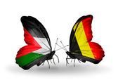 Butterflies with Palestine and Belgium flags on wings — Stock Photo