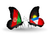 Butterflies with Afghanistan and Antigua and Barbuda flags on wings — Stock Photo