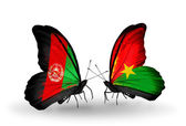 Butterflies with Afghanistan and Burkina Faso flags — Stock Photo