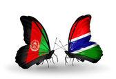アフガニスタンとガンビア フラグと蝶 — Stock fotografie