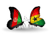 Butterflies with Afghanistan and Ghana flags — Stock Photo