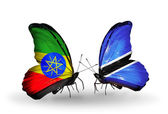 Butterflies with Ethiopia and Botswana flags — Stock Photo