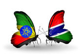 Butterflies with Ethiopia and Gambia flags — Stock Photo