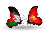 Butterflies with Jordan and Vietnam flags — Stock Photo