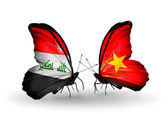 Butterflies with Iraq and  Vietnam flags — Stock Photo