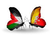 Mariposas con banderas de palestina y bután — Foto de Stock