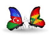 Motyle z flagi Azerbejdżanu i grenada — Zdjęcie stockowe