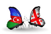 Butterflies with Azerbaijan and Georgia flags — Stock Photo