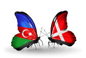Butterflies with Azerbaijan and Denmark flags — Stock Photo