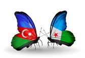 Butterflies with Azerbaijan and Djibouti flags — Stock Photo