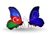 Butterflies with Azerbaijan and European Union flags — Stock Photo