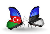 Butterflies with Azerbaijan and Estonia flags — Stock Photo