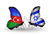 Motýli s příznaky Ázerbájdžán a Izrael — Stock fotografie
