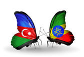 Butterflies with Azerbaijan and Ethiopia flags — Stock Photo