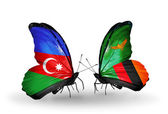 Butterflies with Azerbaijan and Zambia flags — Stock Photo