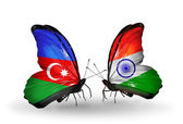 Butterflies with Azerbaijan and  India flags — Stock Photo