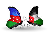 Butterflies with Azerbaijan and Jordan flags — Stock Photo