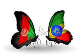 Butterflies with Afghanistan and Ethiopia flags — Stock Photo