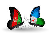 Butterflies with Afghanistan and Djibouti flags — Stock Photo