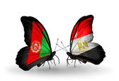 Butterflies with Afghanistan and Egypt flags — Stock Photo