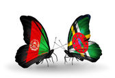 Butterflies with Afghanistan and Dominica flags — Stock Photo