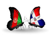 Butterflies with Afghanistan and Dominicana flags — Stock Photo