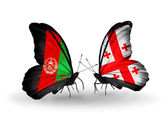 Butterflies with Afghanistan and Georgia flags — Stock Photo