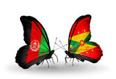 Butterflies with Afghanistan and Grenada flags — Stock Photo