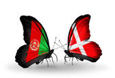 Butterflies with Afghanistan and Denmark flags — Stock Photo