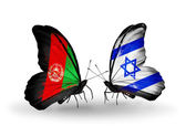 Butterflies with Afghanistan and  Israel flags — Stock Photo