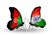 Butterflies with Afghanistan and India flags — Stock Photo