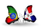 Butterflies with Ethiopia and Dominicana flags — Stock Photo