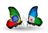 Butterflies with Ethiopia and Djibouti flags — Stock Photo