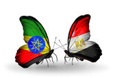 Butterflies with Ethiopia and Egypt flags — Stock Photo