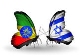 Butterflies with Ethiopia and Israel flags — Stock Photo