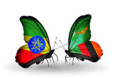 Butterflies with Ethiopia and Zambia flags — Stock Photo