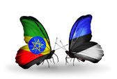 Butterflies with Ethiopia and Estonia flags — Stock Photo