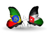 Butterflies with Ethiopia and Jordan flags — Stock Photo