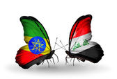 Butterflies with Ethiopia and  Iraq flags — Stock Photo