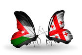 Butterflies with Jordan and Georgia flags — Stock Photo