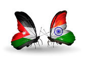 Butterflies with Jordan and India flags — Stock Photo