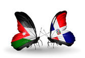 Butterflies with Azerbaijan and Dominicana flags — Stock Photo