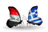 Butterflies with Iraq and Greece flags — Stock Photo