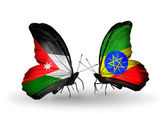 Butterflies with Jordan and Ethiopia flags — Stock Photo