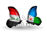 Butterflies with Iraq and Djibouti flags — Stock Photo